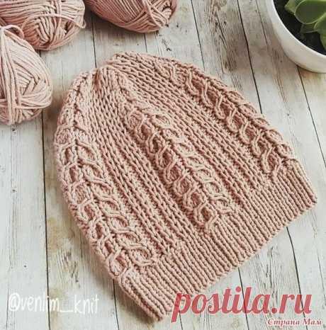 Красивый узор для шапочки спицами