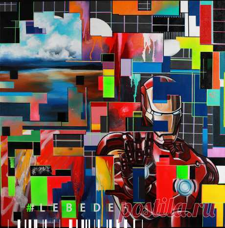 #Lebedef Автор картины Lebedef. Железный человек в гитч сюрреализме  Год создания 2019 Холст на подрамнике 100х100см Техника: акрил, аэрозоль, маркеры, масло