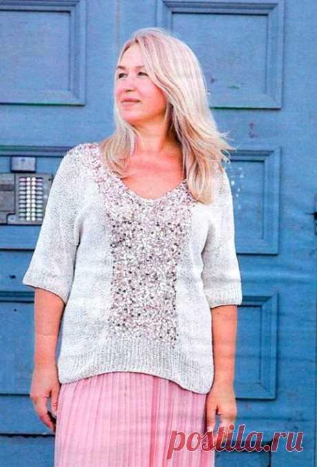 Как связать Пуловер с пайетками спицами