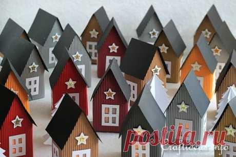 La aldea navideña - es hecho las casitas de papel por las manos