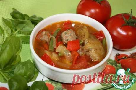 """Суп с овощами и фрикадельками """"жареный"""" – кулинарный рецепт"""