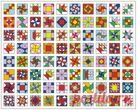Лоскутное одеяло (квилт) из разных лоскутных блоков Мастерская лоскутного шитья. Лоскутные блоки: схема и инструкция.