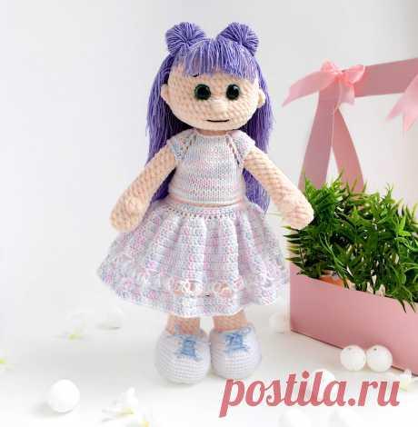 "Мастер-класс ""Кукла в кофточке и юбке"" - LanaMi toys, схема вязания крючком, Амигуруми кукла, мастер-класс pdf, кукла крючком"