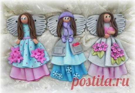 Очаровательные ангелочки. Лепка из пластики или соленого теста