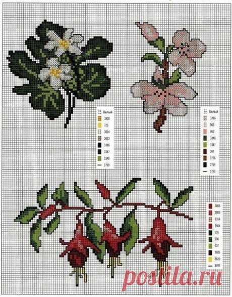 Схемы для вышивки простых и красивых цветов крестиком
