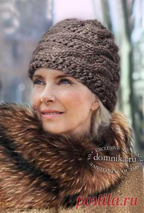 Вязаная шапка чалма спицами для женщин старше 50 лет - описание и схема шапки спицами