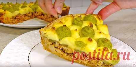 Делаю из простых продуктов по-настоящему праздничное блюдо. Картофельный пирог с фаршем. - Рецепт