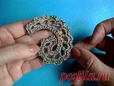 Вязание крючком ирландского кружева Урок 306 Howto Crochet Irich lace leafe - YouTube