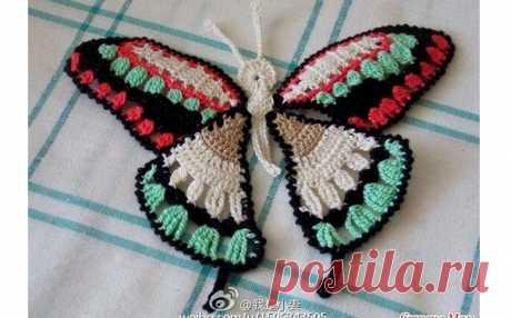 Вязаный мотив «Бабочка». Схема Мотив «Бабочка». Схема вязания крючком. Возможно такая бабочка понадобится вам для декора одежды и других изделий…