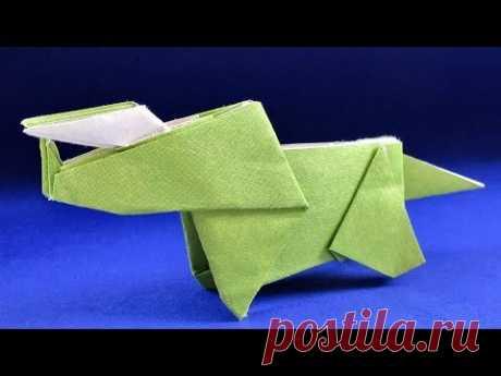 Как сделать динозавра из бумаги. Оригами Трицератопс
