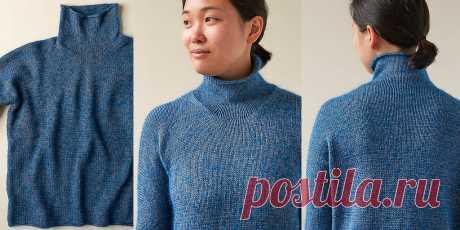 Пуловер гольф Up and Over Turtleneck. Пуловер с воротником гольф, вязаный спицами лицевой гладью с цельновязаным рукавом, описание.