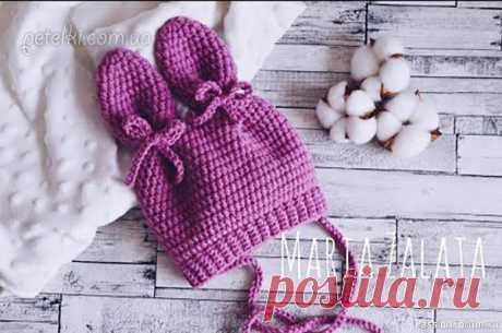Шапочка для новорождённого. Видео МК | Детская одежда крючком. Схемы Видеоурок по вязанию красивой шапочки для новорождённого. На завязочках и с ушками.Автор - Maria Zalata