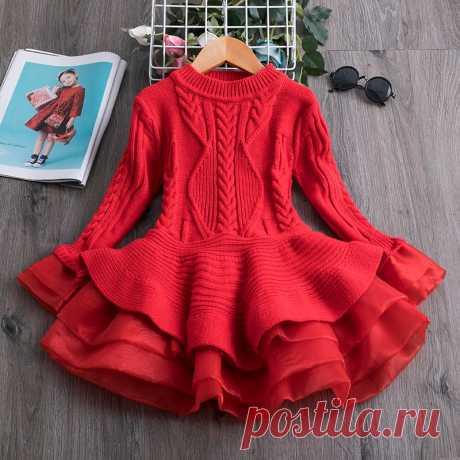 вязаное шифоновое платье для девочки, Рождественская вечеринка, детская одежда с длинным рукавом, Детские платья для девочек, Новогодняя одежда|Платья|
