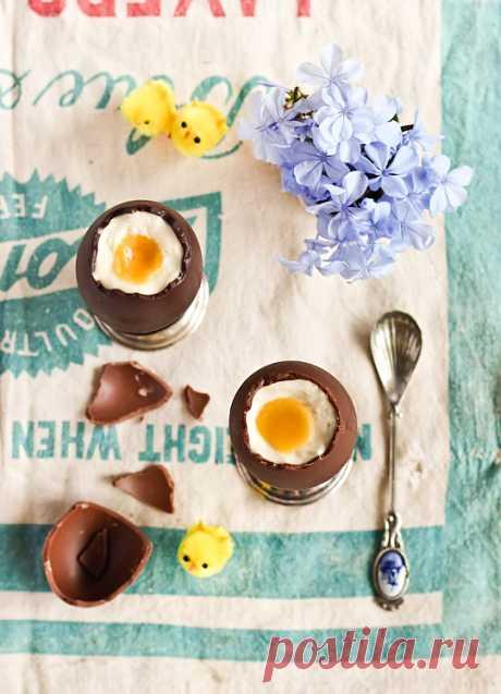 Шоколадные яйца с чизкейк начинкой. Порадует родных на Пасху.