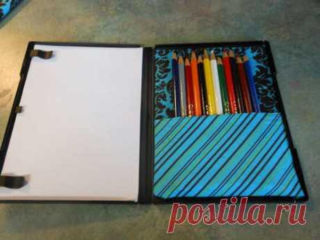 Коробка для карандашей из упаковки для дисков dvd — Поделки с детьми