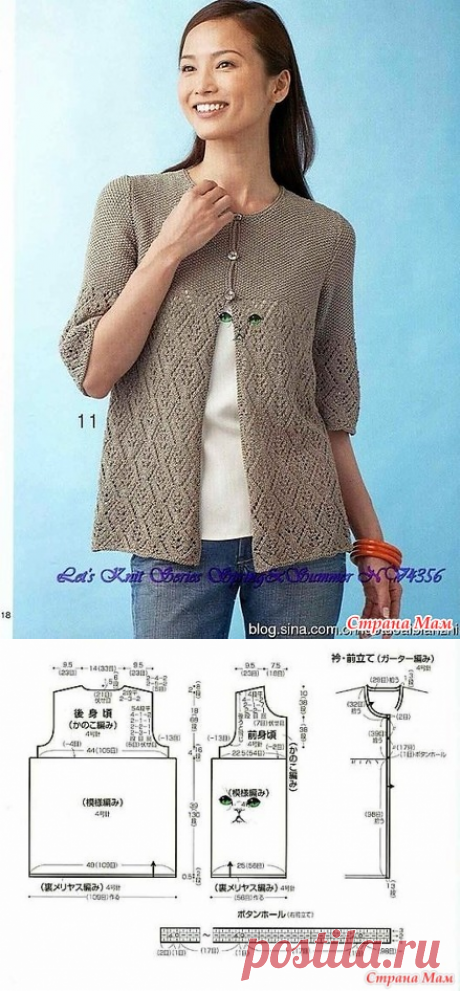 Openwork + smooth surface. Jacket two patterns. Spokes. - KNITTED FASHION + FOR NOT MODEL LADIES - the Country of Mothers