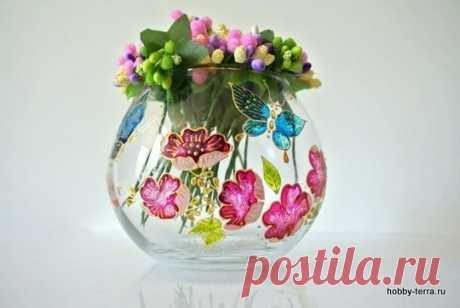 Роспись вазочки витражными красками