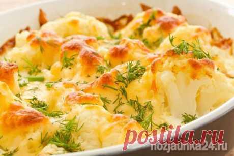 Запеканка из цветной капусты с куриным филе под сыром ⋆ Хозяюшка