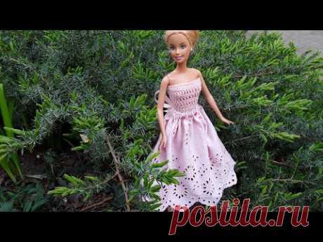 Комбинированное платье для Барби. Шитье и вязание. Мастер-класс.