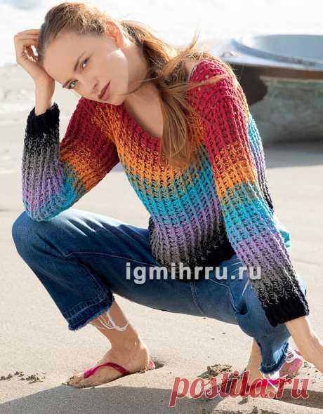 Многоцветный пуловер из рельефных столбиков. Вязание крючком со схемами и описанием