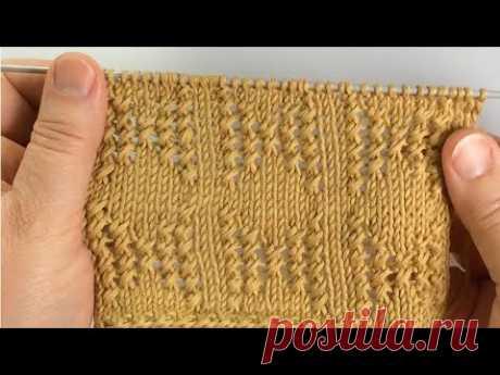 Узор для пуловера или кардигана /Обвитые петли (букле). Вязание спицами. - YouTube