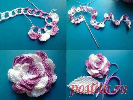 Красивый цветок. Просто и красиво! (Вязание крючком) – Журнал Вдохновение Рукодельницы