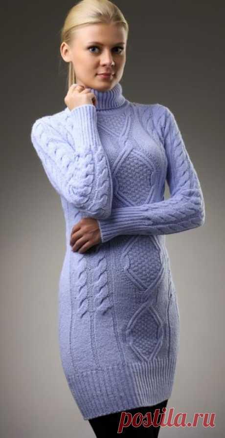Красивое платье спицами с косами и ромбами. Стильное теплое платье своими руками.