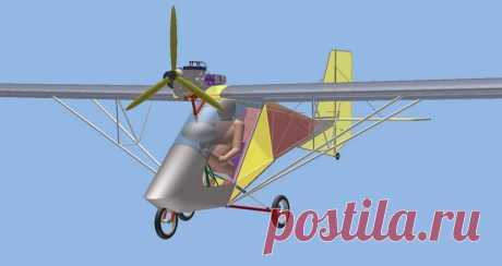 Проект самолетика весом до 115 кг с колесным шасси. Общий вид.