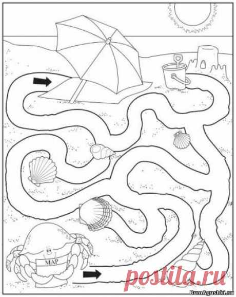 Дорожка к зонтику - Лабиринты - Дошкольное развитие ребенка - БумАгушки - детские раскраски и многое другое