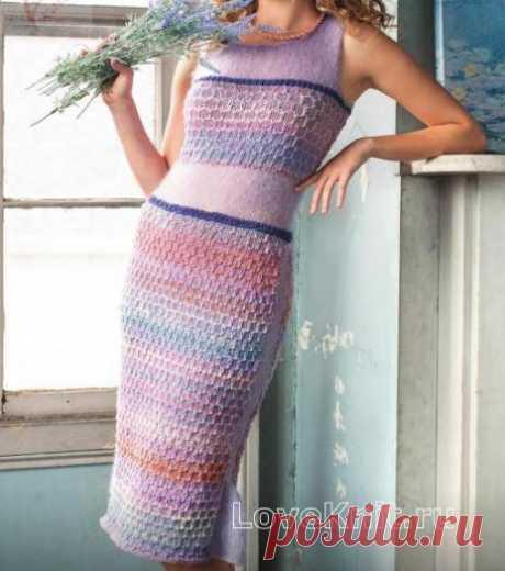 Платье -футляр с ажурной вставкой схема спицами » Люблю Вязать