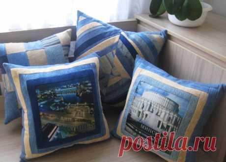 декоративные подушки с видами любимого города