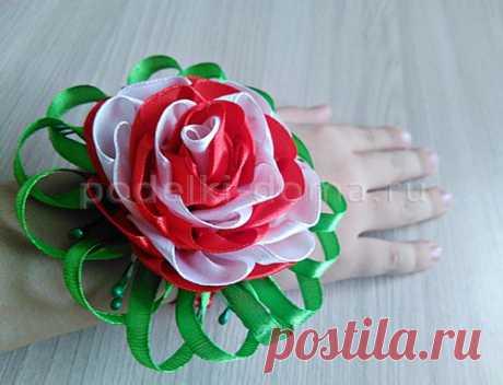 """Бутоньерка на руку из лент """"Роза"""" в технике канзаши - пошагово"""