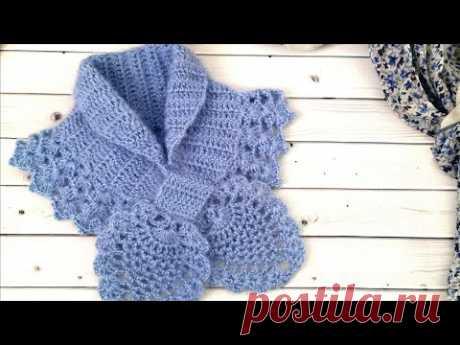 "Шарфик крючком ""Ананасы""//Crochet scarf"