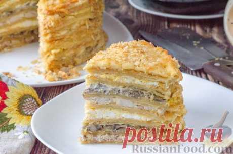Рецепт: Закусочный торт «Наполеон» с курицей и грибами на RussianFood.com