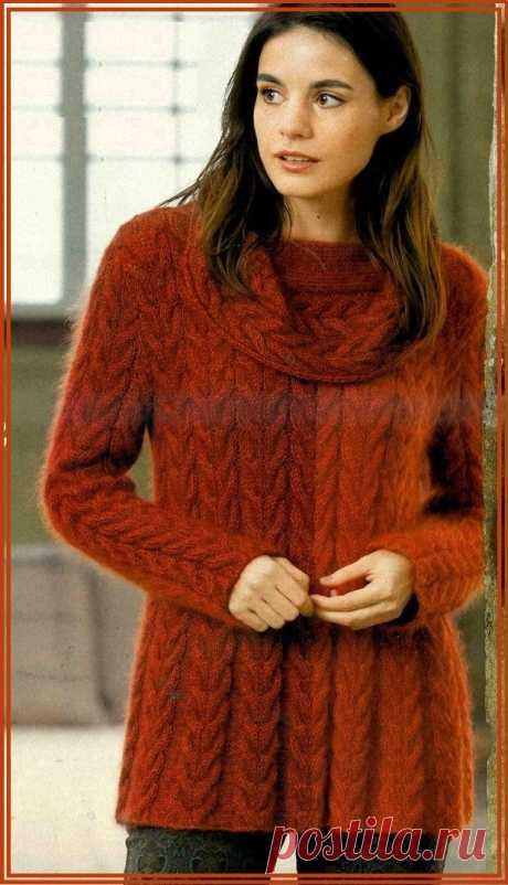 Туника спицами. Красивого теплого красно-кирпичного цвета. Красивый воротник-хомут.  Узор: косы.