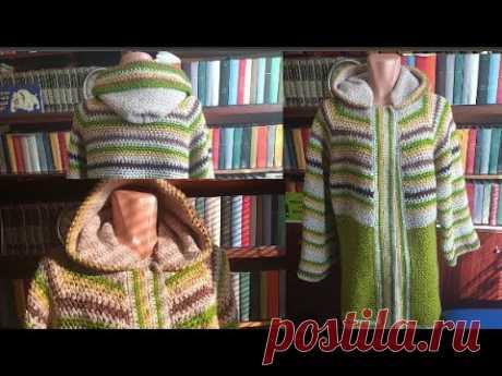Пальто или кардиган крючком с квадратной кокеткой Часть вторая
