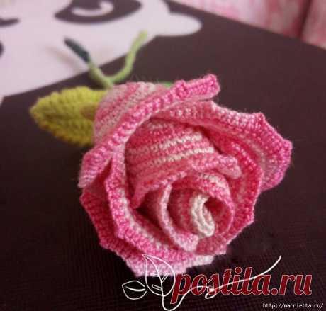 Розовая роза крючком