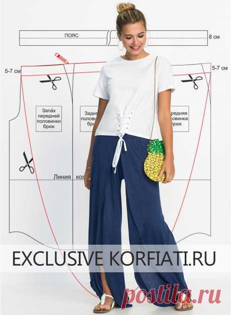 Выкройка трикотажных брюк с запахом от Анастасии Корфиати Выкройка трикотажных брюк с запахом. Эти струящиеся и невероятно удобные трикотажные брюки завоевали симпатии модниц как только появились.