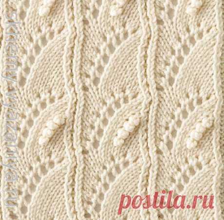 Японский ажурный узор с шишечками - схема вязания спицами, с описанием на русском