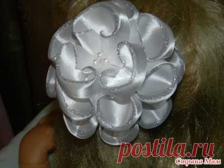 Extraordinary beautiful flowers from satin ribbons! | CURTAINS, LAMBREQUINS, HOUSE TEXTILES the HANDS