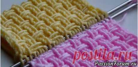 Текстурный узор с перетяжками. Видео МК | Вязание спицами