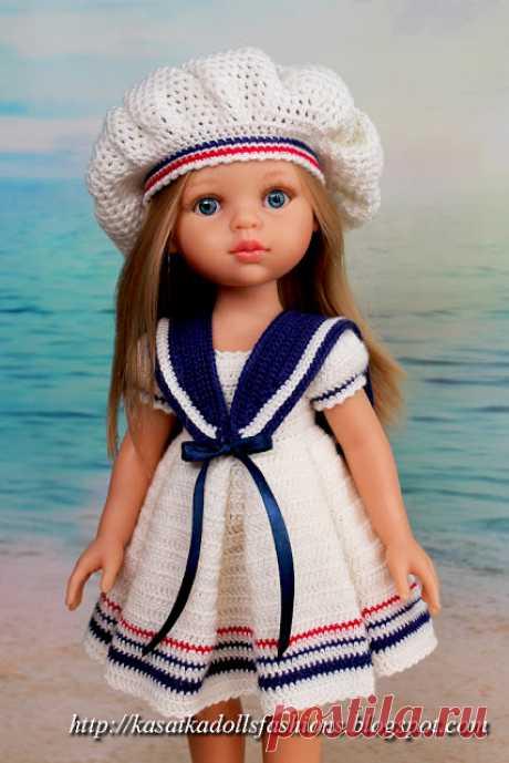 """KasatkaDollsFashions: Платье со складками крючком - наряд """"Подружка Капитана"""" для кукол Паола Рейна"""