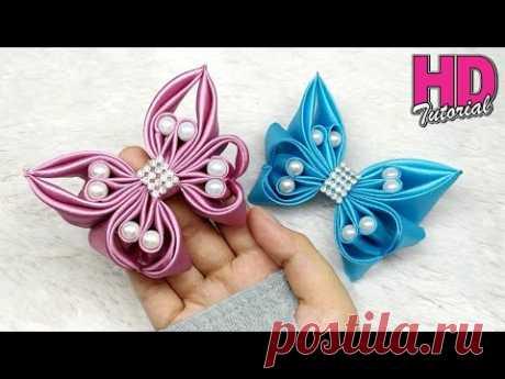 DIY - bros kupu-kupu dari pita satin || how to make satin ribbon butterfly || kanzashi flower
