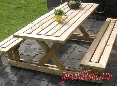 Деревянный стол и скамейки для дачи — Сделай сам, идеи для творчества - DIY Ideas