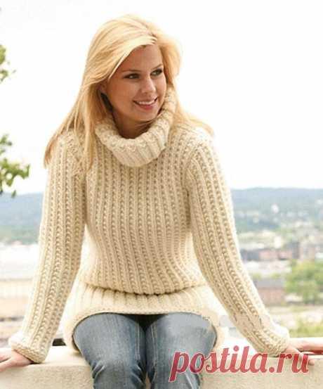 Вяжем теплый свитер из категории Интересные идеи – Вязаные идеи, идеи для вязания