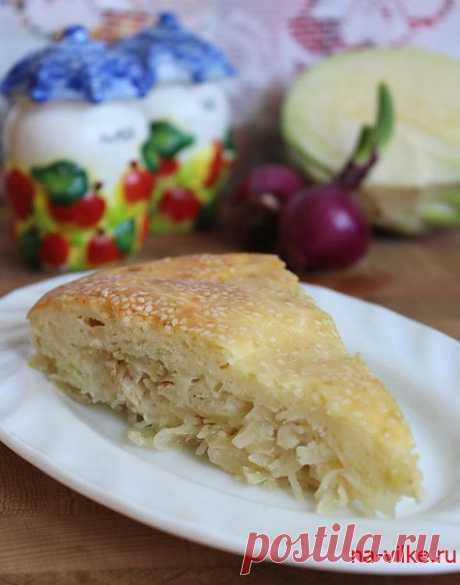 Заливной пирог с капустой и курицей