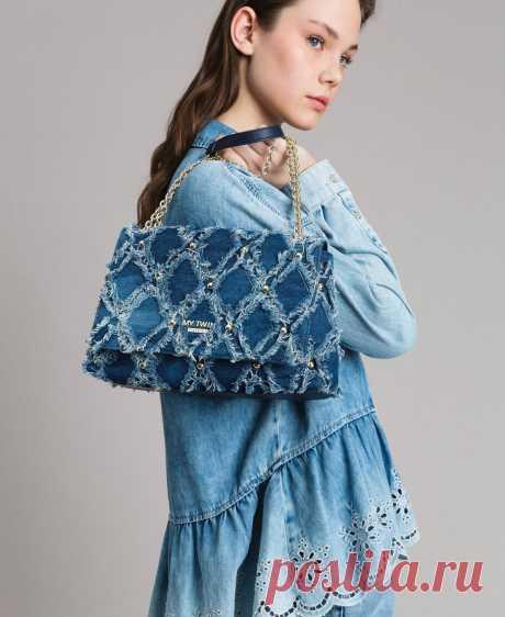 Сумка через плечо из джинсовой ткани в стиле пэчворк женщина, синий | TWINSET Milano
