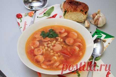 Очень вкусный итальянский томатный суп с сосисками