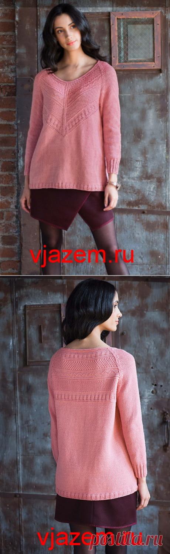 Свободный пуловер регланом от Norah Gaughan с узором гернси