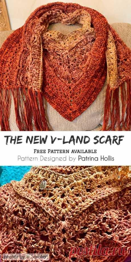 The New V-Land Scarf with Free Pattern  #crochet #scarf #freecrochetscarf #crochetscarfpattern #crochetlove #yarn #stitch